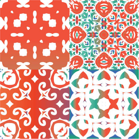 Mexican ornamental talavera ceramic. Collection of vector seamless patterns. Kitchen design. Red vintage backdrops for wallpaper, web background, towels, print, surface texture, pillows.