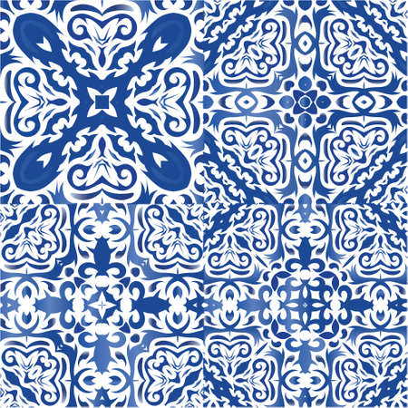 Antique azulejo tiles patchworks. Kit of vector seamless patterns. Fashionable design. Blue spain and portuguese decor for bags, smartphone cases, T-shirts, linens or scrapbooking.