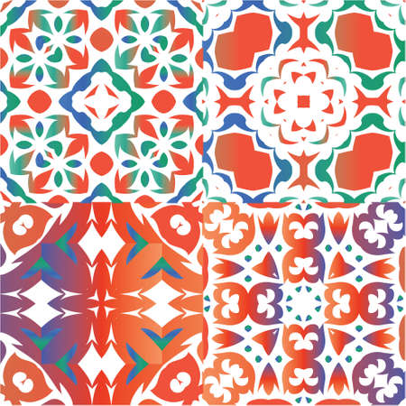 Antique mexican talavera ceramic. Kitchen design. Collection of vector seamless patterns. Red floral and abstract decor for scrapbooking, smartphone cases, T-shirts, bags or linens.