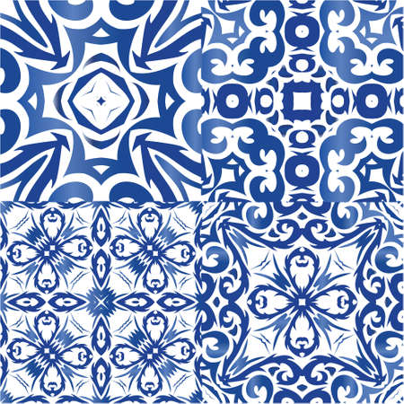 Ornamental azulejo portugal tiles decor. Hand drawn design. Collection of vector seamless patterns. Blue gorgeous flower folk prints for linens, smartphone cases, scrapbooking, bags or T-shirts.