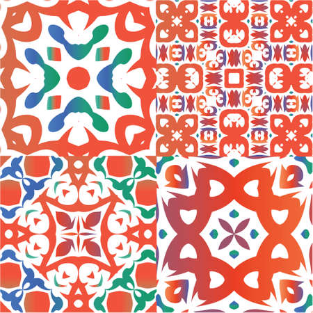 Mexican vintage talavera tiles. Collection of vector seamless patterns. Bathroom design. Red antique backgrounds for pillows, print, wallpaper, web backdrop, towels, surface texture.