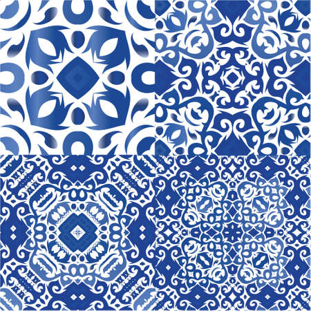 Antique azulejo tiles patchworks. Minimal design. Set of vector seamless patterns. Blue spain and portuguese decor for bags, smartphone cases, T-shirts, linens or scrapbooking.