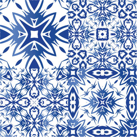 Antique azulejo tiles patchworks. Original design. Kit of vector seamless patterns. Blue spain and portuguese decor for bags, smartphone cases, T-shirts, linens or scrapbooking.