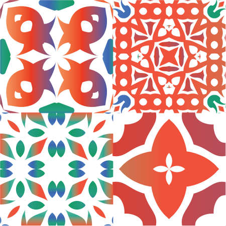 Antique mexican talavera ceramic. Set of vector seamless patterns. Modern design. Red floral and abstract decor for scrapbooking, smartphone cases, T-shirts, bags or linens. Vectores
