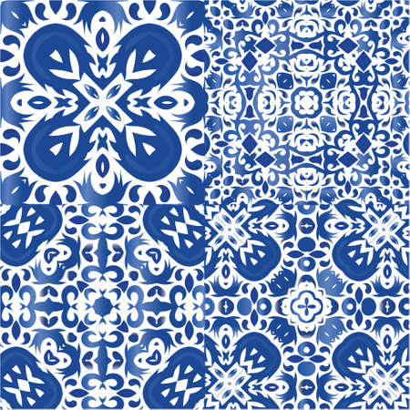 Decorative color ceramic azulejo tiles. Collection of vector seamless patterns. Hand drawn design. Blue folk ethnic ornaments for print, web background, surface texture, towels, pillows, wallpaper. Vectores