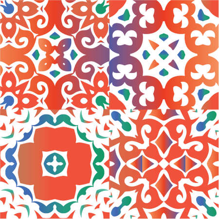 Traditional ornate mexican talavera. Stylish design. Collection of vector seamless patterns. Red abstract backgrounds for web backdrop, print, pillows, surface texture, wallpaper, towels. Vectores