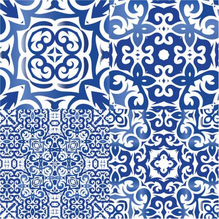 Traditional ornate portuguese azulejos. Original design. Set of vector seamless patterns. Blue abstract backgrounds for web backdrop, print, pillows, surface texture, wallpaper, towels. Vectores