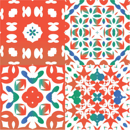 Ornamental talavera mexico tiles decor. Hand drawn design. Set of vector seamless patterns. Red gorgeous flower folk prints for linens, smartphone cases, scrapbooking, bags or T-shirts.