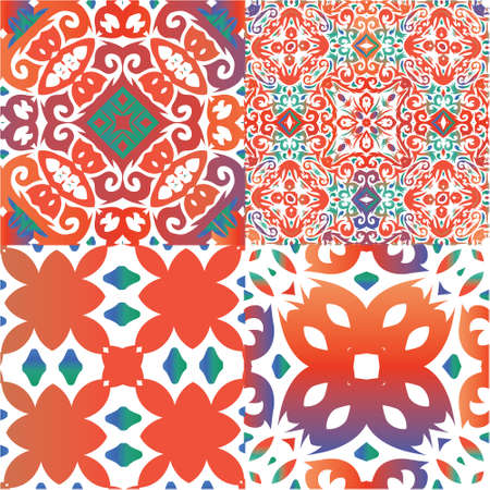 Ethnic ceramic tiles in mexican talavera. Graphic design. Kit of vector seamless patterns. Red vintage ornaments for surface texture, towels, pillows, wallpaper, print, web background.