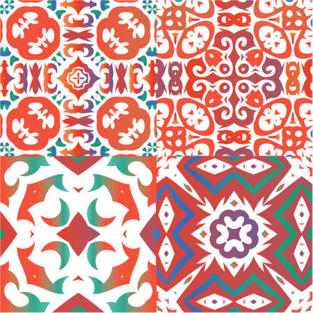 Antique talavera tiles patchworks. Creative design. Set of vector seamless patterns. Red mexican ornamental  decor for bags, smartphone cases, T-shirts, linens or scrapbooking. Vectores