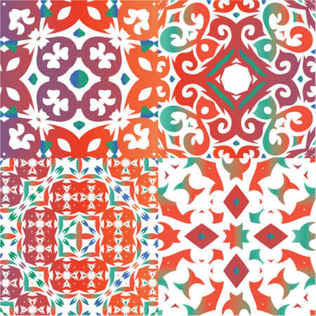 Ornamental talavera mexico tiles decor. Set of vector seamless patterns. Kitchen design. Red gorgeous flower folk prints for linens, smartphone cases, scrapbooking, bags or T-shirts. Vectores