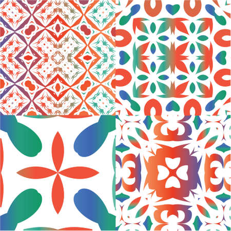 Mexican vintage talavera tiles. Set of vector seamless patterns. Graphic design. Red antique backgrounds for pillows, print, wallpaper, web backdrop, towels, surface texture.
