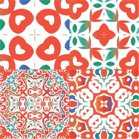 Antique mexican talavera ceramic. Modern design. Kit of vector seamless patterns. Red floral and abstract decor for scrapbooking, smartphone cases, T-shirts, bags or linens.