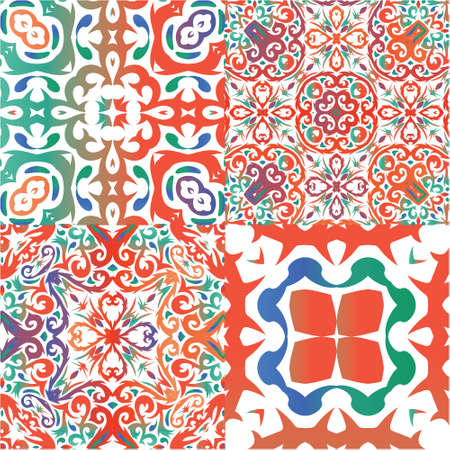 Antique talavera tiles patchworks. Geometric design. Kit of vector seamless patterns. Red mexican ornamental  decor for bags, smartphone cases, T-shirts, linens or scrapbooking. Vectores