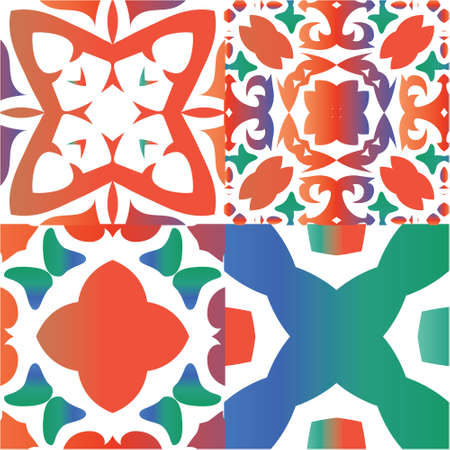 Decorative color ceramic talavera tiles. Set of vector seamless patterns. Graphic design. Red folk ethnic ornaments for print, web background, surface texture, towels, pillows, wallpaper.