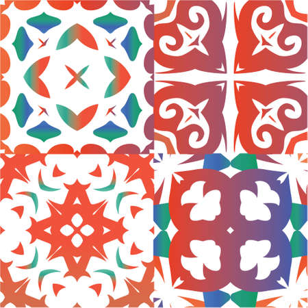 Traditional ornate mexican talavera. Bathroom design. Set of vector seamless patterns. Red abstract backgrounds for web backdrop, print, pillows, surface texture, wallpaper, towels. Vectores