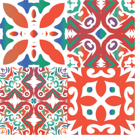 Traditional ornate mexican talavera. Set of vector seamless patterns. Creative design. Red abstract backgrounds for web backdrop, print, pillows, surface texture, wallpaper, towels. Vectores