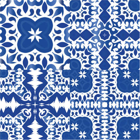 Decorative color ceramic azulejo tiles. Creative design. Collection of vector seamless patterns. Blue folk ethnic ornaments for print, web background, surface texture, towels, pillows, wallpaper.