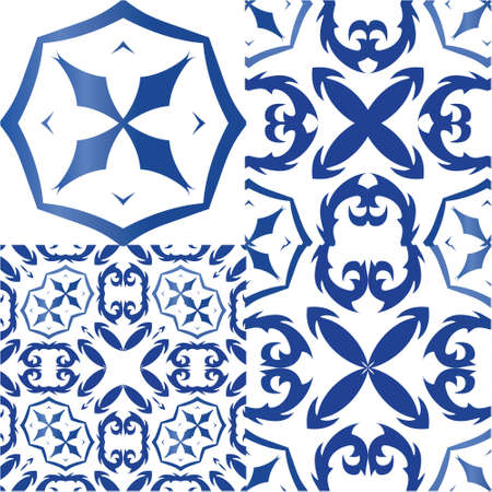 Ethnic ceramic tiles in portuguese azulejo. Hand drawn design. Kit of vector seamless patterns. Blue vintage ornaments for surface texture, towels, pillows, wallpaper, print, web background.