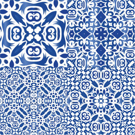 Portuguese vintage azulejo tiles. Collection of vector seamless patterns. Colored design. Blue antique backgrounds for pillows, print, wallpaper, web backdrop, towels, surface texture.