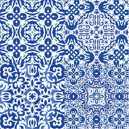 Decorative color ceramic azulejo tiles. Collection of vector seamless patterns. Stylish design. Blue folk ethnic ornaments for print, web background, surface texture, towels, pillows, wallpaper.