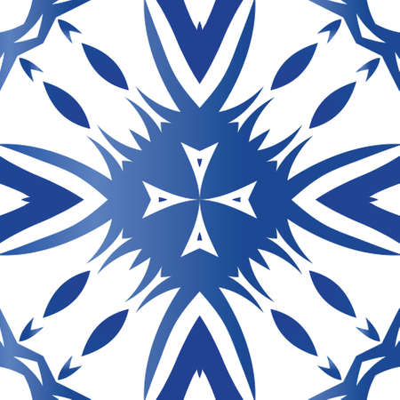 Traditional ornate portuguese azulejo. Colored design. Vector seamless pattern poster. Blue abstract background for web backdrop, print, pillows, surface texture, wallpaper, towels. Illustration
