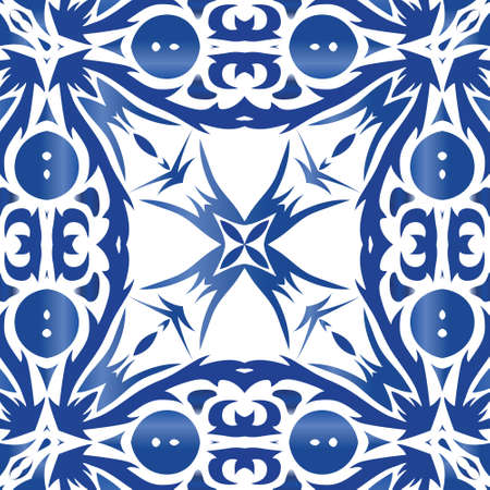 Ceramic tiles azulejo portugal. Colored design. Vector seamless pattern trellis. Blue ethnic background for T-shirts, scrapbooking, linens, smartphone cases or bags.
