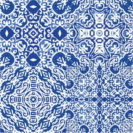 Decorative color ceramic azulejo tiles. Stylish design. Kit of vector seamless patterns. Blue folk ethnic ornaments for print, web background, surface texture, towels, pillows, wallpaper.