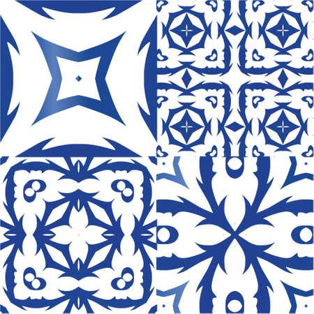 Ornamental azulejo portugal tiles decor. Kit of vector seamless patterns. Bathroom design. Blue gorgeous flower folk prints for linens, smartphone cases, scrapbooking, bags or T-shirts.