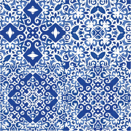 Ethnic ceramic tiles in portuguese azulejo. Minimal design. Set of vector seamless patterns. Blue vintage ornaments for surface texture, towels, pillows, wallpaper, print, web background.