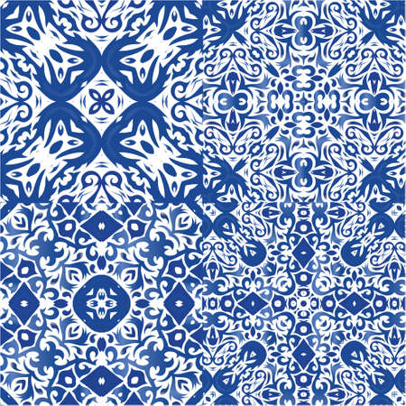 Ceramic tiles azulejo portugal. Kit of vector seamless patterns. Bathroom design. Blue ethnic backgrounds for T-shirts, scrapbooking, linens, smartphone cases or bags.