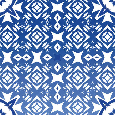 Traditional ornate portuguese azulejo. Original design. Vector seamless pattern illustration. Blue abstract background for web backdrop, print, pillows, surface texture, wallpaper, towels.