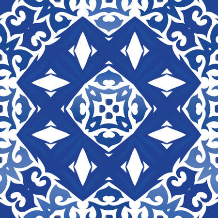Ceramic tiles azulejo portugal. Vector seamless pattern arabesque. Modern design. Blue ethnic background for T-shirts, scrapbooking, linens, smartphone cases or bags.