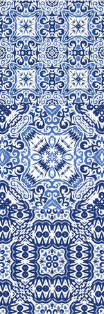 Traditional ornate portuguese azulejos. Creative design. Set of vector seamless patterns. Blue abstract backgrounds for web backdrop, print, pillows, surface texture, wallpaper, towels.