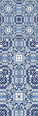 Decorative color ceramic azulejo tiles. Kit of vector seamless patterns. Creative design. Blue folk ethnic ornaments for print, web background, surface texture, towels, pillows, wallpaper. Vektorgrafik