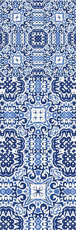 Decorative color ceramic azulejo tiles. Kit of vector seamless patterns. Creative design. Blue folk ethnic ornaments for print, web background, surface texture, towels, pillows, wallpaper.