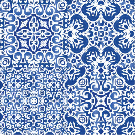 Antique portuguese azulejo ceramic. Collection of vector seamless patterns. Graphic design. Blue floral and abstract decor for scrapbooking, smartphone cases, T-shirts, bags or linens.