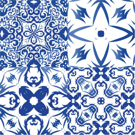 Traditional ornate portuguese azulejos. Set of vector seamless patterns. Graphic design. Blue abstract backgrounds for web backdrop, print, pillows, surface texture, wallpaper, towels.