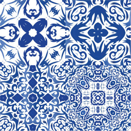 Decorative color ceramic azulejo tiles. Collection of vector seamless patterns. Minimal design. Blue folk ethnic ornaments for print, web background, surface texture, towels, pillows, wallpaper.