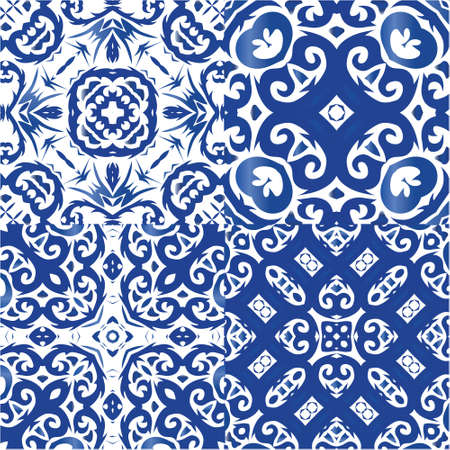 Ceramic tiles azulejo portugal. Graphic design. Collection of vector seamless patterns. Blue ethnic backgrounds for T-shirts, scrapbooking, linens, smartphone cases or bags.
