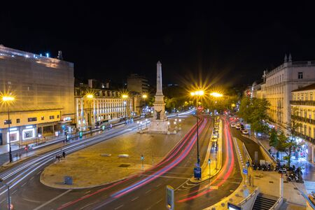 Long exposure night view of Lisbon downtown.