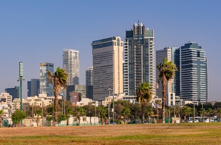 Modern office buildings and residential towers as a result of the development of the real estate sector in Tel Aviv.
