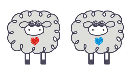 Sheep in love Vector
