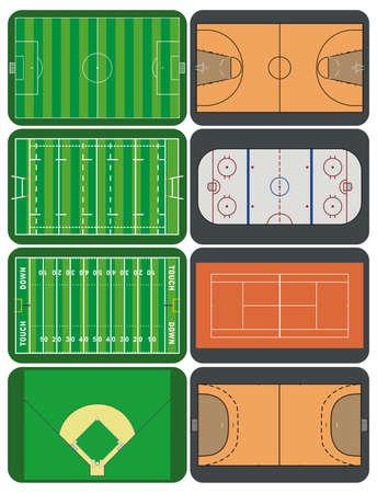 tennis stadium: Los tribunales y campos deportivos Vectores
