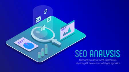 Vector for SEO analisis, Web analisis, isometric project Ilustracja