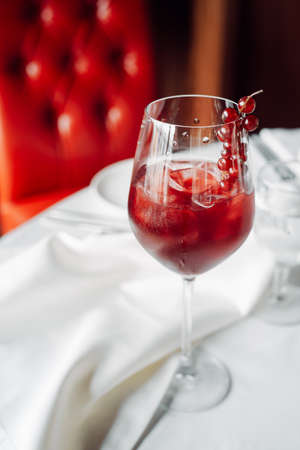 red cocktail with cranberries Stock Photo
