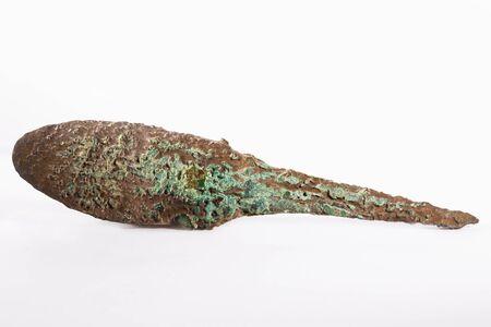 blacksmith: Ancient arrowhead on white background.