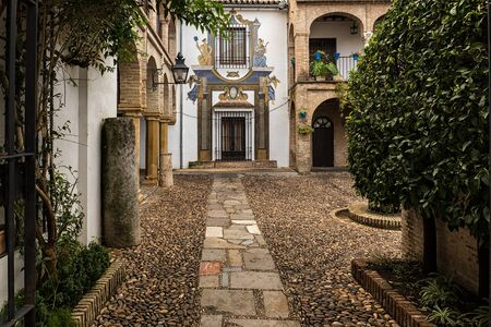 jewish home: Typical street at old quarter in Cordoba. Andalucia. Spain. Stock Photo