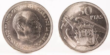 minted: Old Spanish coin of 50 pesetas, Francisco Franco. Coined in nickel. Year 1957, 59 in the star.