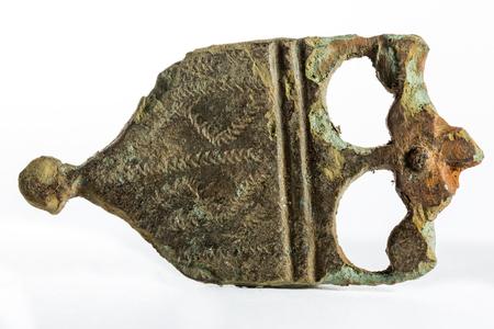 scheide: Ancient chape of a sword scabbard, roman or medieval. Lizenzfreie Bilder